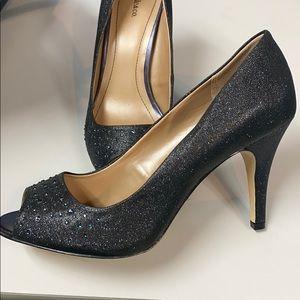 Style & Co navy sparkle peep toe heels. 8W